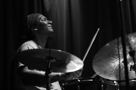 Hamid Drake of Die Like a Dog Trio. Photo by Pierre Langlois.