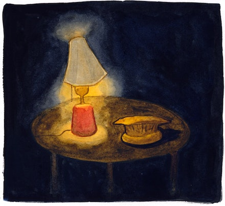 """...a table with a lamp and an afghan hat."" Illustration by Megan Piontkowski."