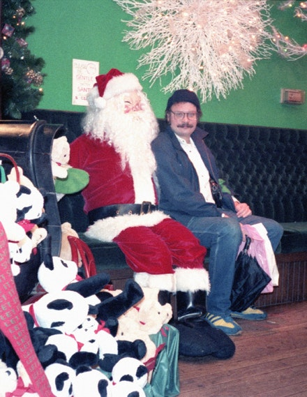 George Kuchar and a friend from the North Pole, circa early 1980s.