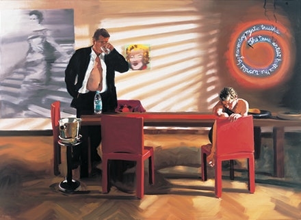 "Eric Fischl, ""Krefeld Project; Dining Room, Scene #2,"" 2003. Oil on linen, 89 × 124˝. Courtesy the artist."