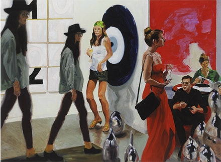 "Eric Fischl, ""Art Fair: Booth #1, Play/Care,"" 2013. Oil on Linen, 82 × 112˝. Courtesy the artist."