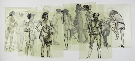 "Eric Fischl, ""Womens' Locker Room,"" 1982. Oil on glassine (9 pieces), 82 × 186 ̋. Courtesy the artist."