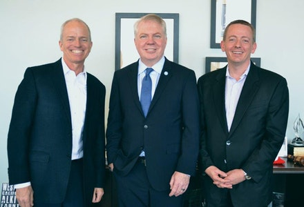 Seattle Mayor Ed Murray poses with both chairs of his inequality committee, Millionaire Howard Wright III (left), and labor leader David Rolf (right), the three representing Seattle's coalition of business, government and labor. Photo courtesy of S.E.I.U.