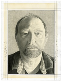 Portrait of David Levi Strauss. Pencil on paper by Phong Bui.