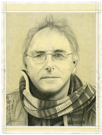 Portrait of the artist. Pencil on paper by Phong Bui. Inspired by a photograph by Oliver Abraham.