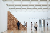 Installation view, <em>Carl Andre: Sculpture as Place, 1958 – 2010</em>, Dia:Beacon, Riggio Galleries, Beacon, New York. May 5, 2014 – March 2, 2015. Art © Carl Andre/Licensed by VAGA, New York, NY. Photo: Ethan Harrison. Courtesy Dia Art Foundation, New York.
