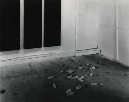 "Carl Andre, ""Scatter Piece,"" New York, 1966. 33 ball bearings, 13 pulley discs, 9 pieces aluminum channel, 15 Plexiglas rectangular solids, 7 aluminum ingots, site-specific, dimensions vary. © Carl Andre / Licensed by VAGA, New York. Courtesy Paula Cooper Gallery, New York."