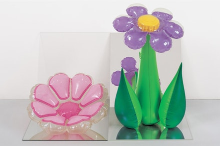 "Jeff Koons, ""Inflatable Flowers (Short Pink, Tall Purple),"" 1979. Vinyl, mirrors, and acrylic; 16 × 25 × 18 in. (40.6 × 63.5 × 45.7 cm). Collection of Norman and Norah Stone. © Jeff Koons."