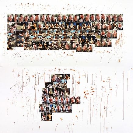 """Larry Clark, """"Knoxville II (homage to Brad Renfro),"""" 2012. Diptych; color photographs and blood on foamcore, each work, 48×96 ̋. © Larry Clark; Courtesy of the artist and Luhring Augustine, New York."""