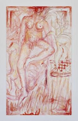 "Jutta Koether, ""Lucian David Eli,"" 2013. Oil on canvas, 150 × 90 cm."