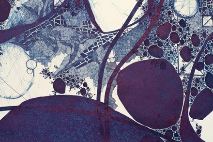 "Derek Lerner, detail of ""Asvirus 54,"" 2014. Ink on paper. 59 × 98 ̋. Courtesy of Robert Henry Contemporary."