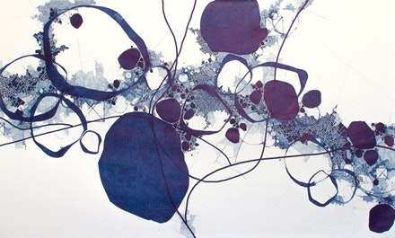 "Derek Lerner, ""Asvirus 54,"" 2014. Ink on paper. 59 × 98 ̋. Courtesy of Robert Henry Contemporary."