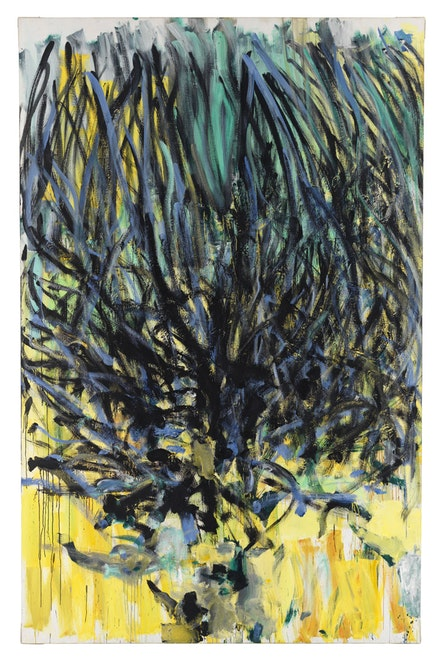 "Joan Mitchell, ""Tilleul (Linden Tree),"" 1978. Oil on canvas, 110 1/4 × 70 7/8 inches. Courtesy of Cheim & Read."