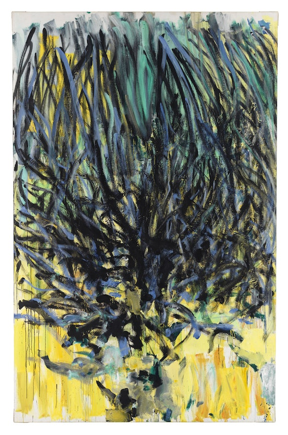 """Joan Mitchell, """"Tilleul (Linden Tree),"""" 1978. Oil on canvas, 110 1/4 × 70 7/8 inches. Courtesy of Cheim & Read."""