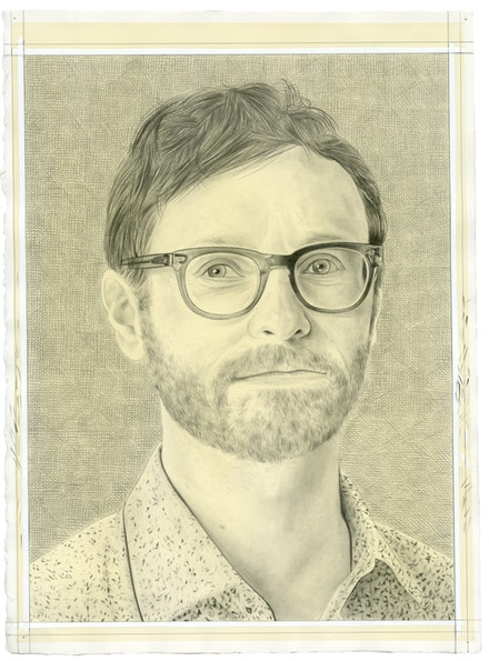 Portrait of Leo Goldsmith. Pencil on paper by Phong Bui.