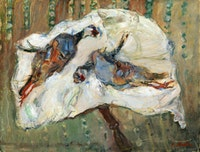 "Chaim Soutine, ""Two Pheasants on a Table,"" c. 1926. Oil on canvas, 19 3/4 x 25 1/2"". Private Collection."