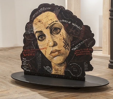 "Molly Crabapple, ""Portraits of myself and Lola Montes with things said about us by our contemporaries,"" 2014. Acrylic on wood, 60 x 80 x 40"""