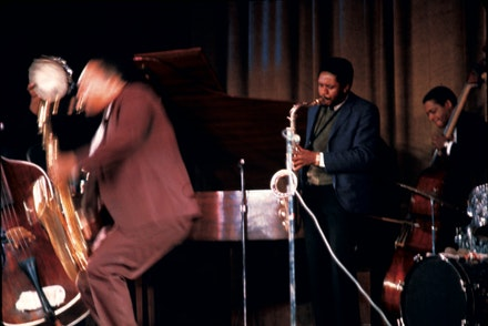 John Coltrane Quintet with Pharoah Sanders, Rashied Ali, Alice Coltrane, Jimmy Garrison & Sonny Johnson plus unknown percussionists at The Village Theater, New York City, December 1966.