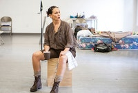 Lisa Ramirez as Olga in <em>TO THE BONE</em>. Rehearsal photo by Monique Carboni.