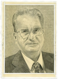 Portrait of Mikhael Piotrovsky. Pencil on paper by Phong Bui.