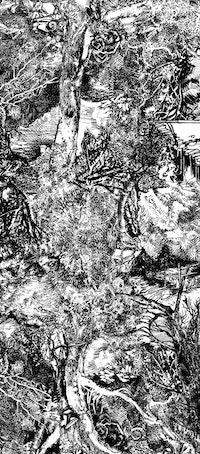 "Ellen Wiener, ""Longhand Forest"" (detail), 2014. Ink on paper and phototex, 70 × 216 ̋. Photo: Jeff Heatley."