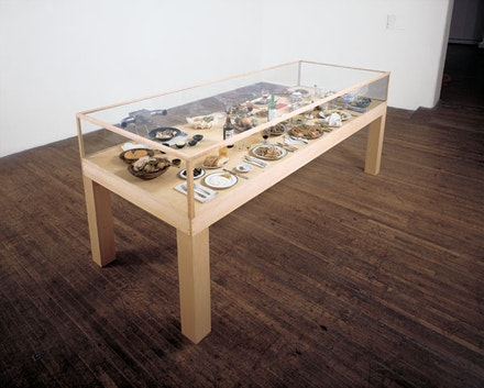 "Roxy Paine, ""Dinner of the Dictators,"" 1993-1995. Freeze-dried food, place settings, glass wood, dehumidifier, 427 1/4 × 118 1/2 × 50 ̋."