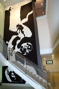 "Kara Walker, ""Event Horizon"" mural, located at New School University's Arnhold Hall, New York. Photograph by Young Kim."