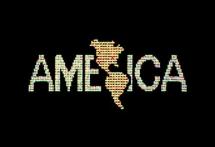 "Alfredo Jaar, ""A Logo for America,"" 1987. Digital color video, 10 min., 25 sec., edition 2/6; original animation commissioned by Public Art Fund for Spectacolor Sign, Times Square, New York, April 1987. Solomon R. Guggenheim Museum, New York, Guggenheim UBS MAP Purchase Fund. Image courtesy the artist."