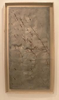 """Lucio Fontana, """"Concetto spaziale, Cielo a New York 14,"""" 1962. Aluminum."""