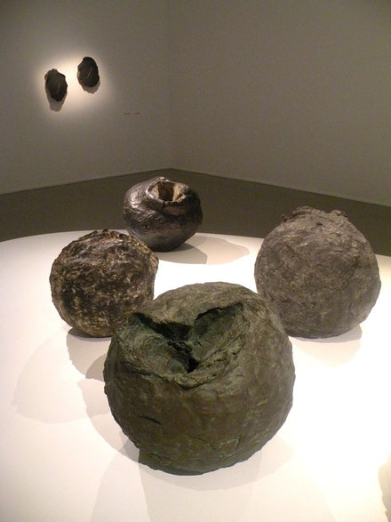 "Lucio Fontana, installation shot of ""Nature"" sculpture cycle. Begun 1959. Bronze."