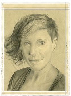 Portrait of Kara Rooney. Pencil on paper by Phong Bui.