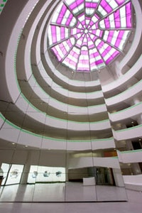 "Daniel Buren, ""The Rose Window"" (2005), work in situ, Solomon R. Guggenheim Museum, New York, colored gels on glass."