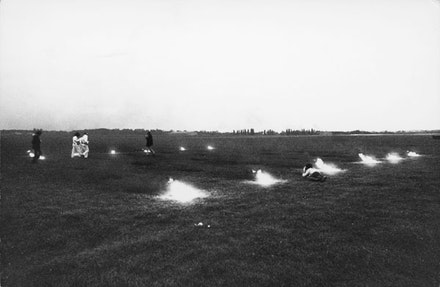 """""""Landscape for Fire II"""" (1972). Performance view.  North Weald, England. Photo by David Kilburn. Courtesy Sean Kelly Gallery, New York."""