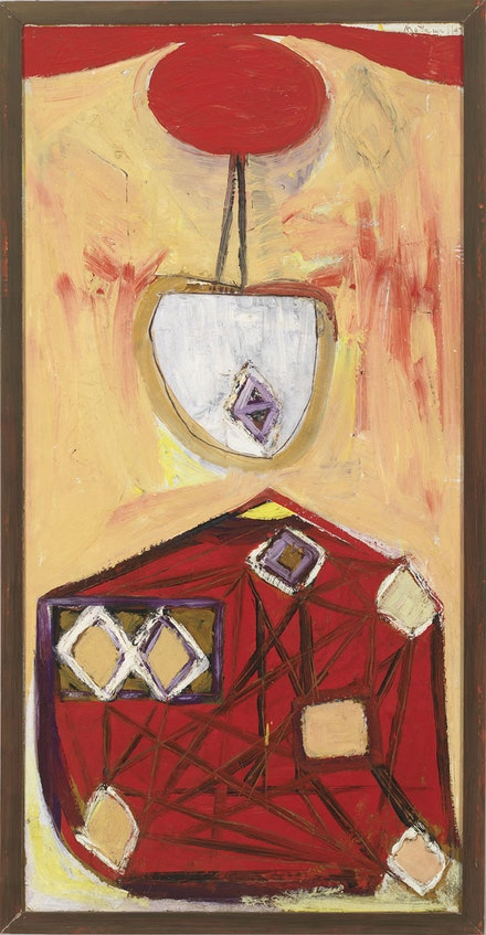"Robert Motherwell, ""The Red Skirt,� 1947. From the series Personages. Oil on composition board, 48 x 24�. Whitney Museum of American Art, New York. ©VAGA, NY."