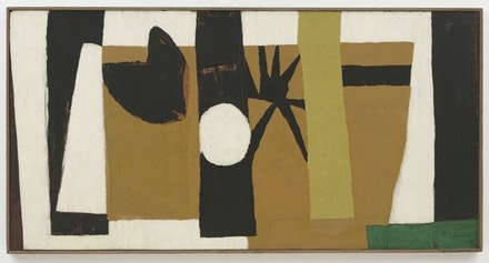 "Robert Motherwell, ""The Voyage,"" 1949. Oil and tempera on paper mounted on composition board, 48 x 94"". The Museum of Modern Art, New York. Gift of Blanchette Hooker Rockefeller, 1955. ©VAGA, NY."