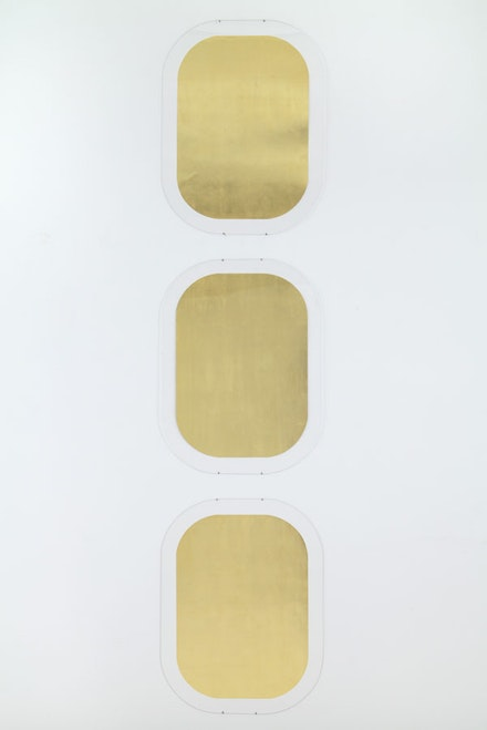 "James Lee Byars, ""Portrait of the Artist,"" 1993. Gold leaf on paper. Three parts, each: 30 1/4 x 21 3/4"". Courtesy Michael Werner Gallery, New York and London."
