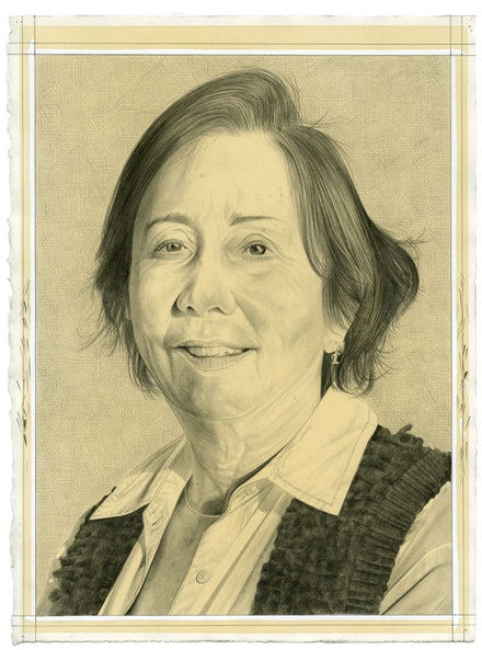 Portrait of Phyllis Tuchman. Pencil on paper by Phong Bui. Inspired by a photo portrait by Owen Keogh.