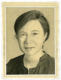 Portrait of the artist. Pencil on paper by Phong Bui. Inspired by a photo portrait by Zack Garlitos.