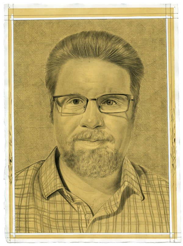 Portrait of Ed Schad. Pencil on paper by Phong Bui.
