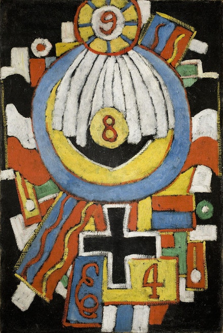 "Marsden Hartley, ""Portrait,"" c. 1914–15. Oil on canvas, 32 1/4 × 21 1/2 ̋. The Collection of the Frederick R. Weisman Art Museum at the University of Minnesota, Minneapolis. Bequest of Hudson D. Walker from the Ione and Hudson D. Walker Collection."