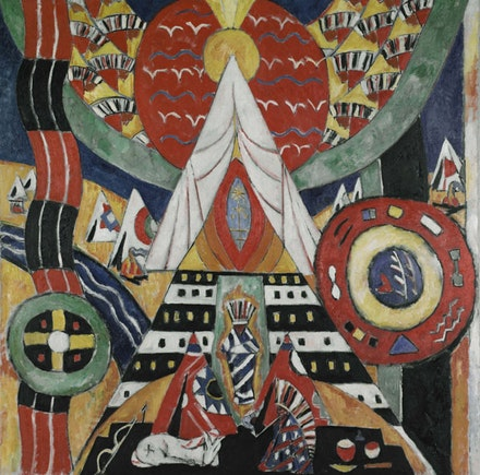 "Marsden Hartley, ""Indian Composition,"" c. 1914–15. Oil on canvas, 47 3/4 × 47 3/4 ̋. The Frances Lehman Loeb Art Center, Vassar College, Poughkeepsie, NY, gift of Paul Rosenfeld, 1950. 1.5."