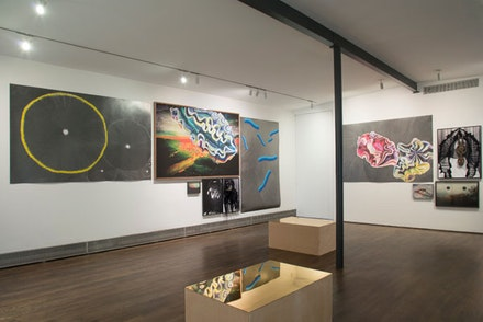 "Zipora Fried, installation shot of ""I Hope the Moon Explodes."" On Stellar Rays, September 2014. Photo credit: Adam Reich."