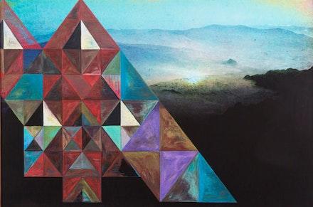"Zipora Fried, ""Romeoville,"" 2014. Oil pastel on archival pigment print, 55 × 82.5 ̋."