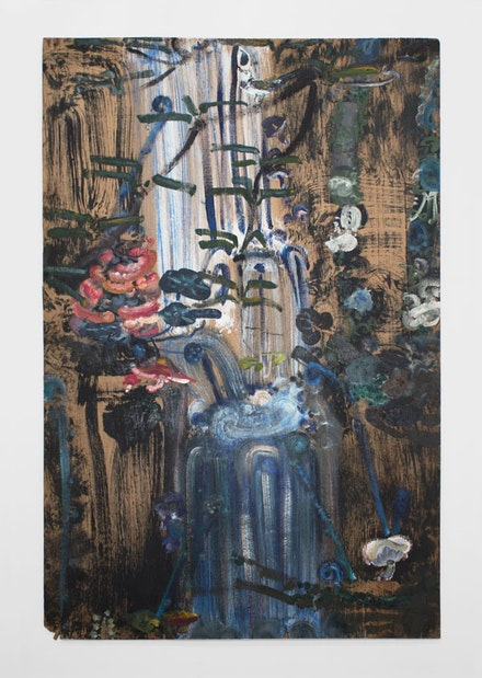 "Bill Lynch, ""Untitled (Waterfall and Pink Flowers),"" n.d. Oil on wood, 541/4 × 34 × 1/2 ̋. Image courtesy of White Columns."