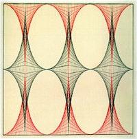 "Emma Kunz, ""Work No. 009"" (n.d.), colored pencil on graph paper. Courtesy of Emma Kunz Center, Switzerland."