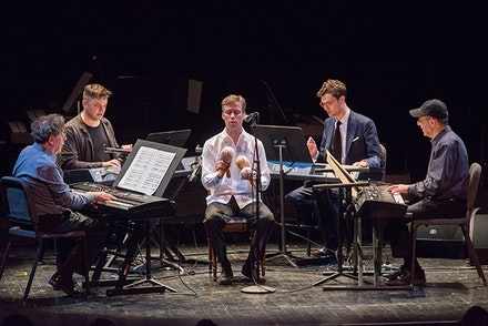 Philip Glass, Nico Muhly, David Cossin, Timo Andres, Steve Reich play Four Organs at BAM. Photo by Stephanie Berger.