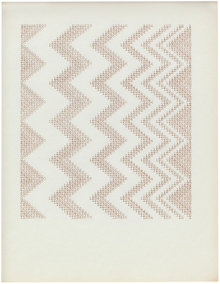 """James Siena, """"Untitled (0-9, ten, eight, six, four, three, two, one),"""" 2014. Ink on paper, 11 x 8.5"""". Courtesy Sargent's Daughters Gallery."""