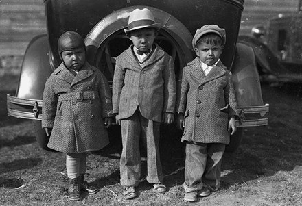 "Left to right: Newton Poolaw (Kiowa), Jerry Poolaw (Kiowa), Elmer Thomas ""Buddy"" Saunkeah (Kiowa). Mountain View, Oklahoma, ca. 1928. © 2014 Estate of Horace Poolaw. Reprinted with permission."