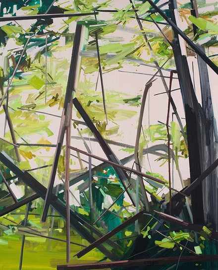 "Claire Sherman, ""Trees,"" 2014. Oil on canvas, 96 x 78"". Courtesy of the artist and DC Moore Gallery, New York."