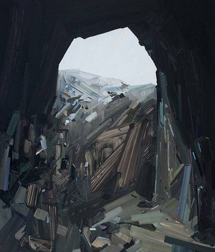 "Claire Sherman, ""Cave,"" 2014. Oil on canvas, 84 x 72"". Courtesy of the artist and DC Moore Gallery, New York."